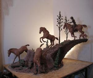 River Crossing - Bronze Sculpture