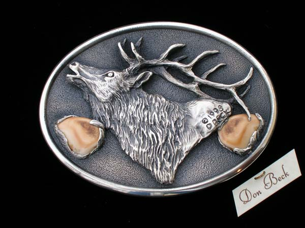 Rocky Mountain Elk Silver belt buckle