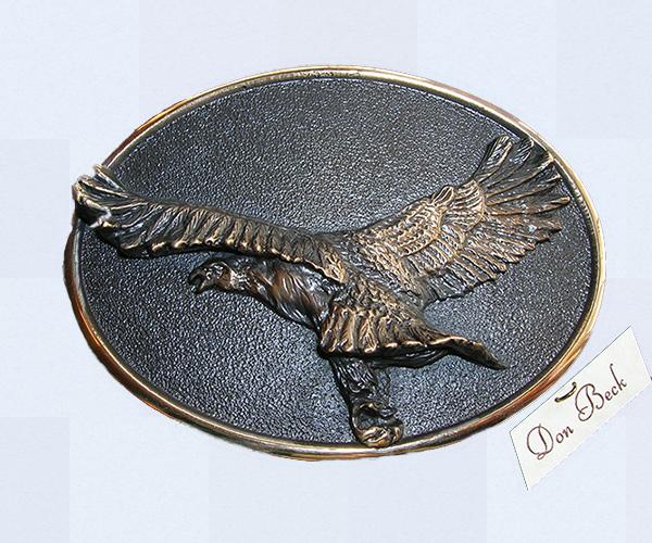 American Bald Eagle bronze belt buckle