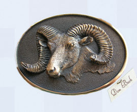 Rocky Mountain Bighorn Sheep bronze belt buckle