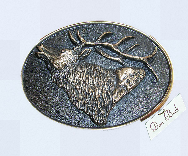 Rocky Mountain Elk bronze belt buckle