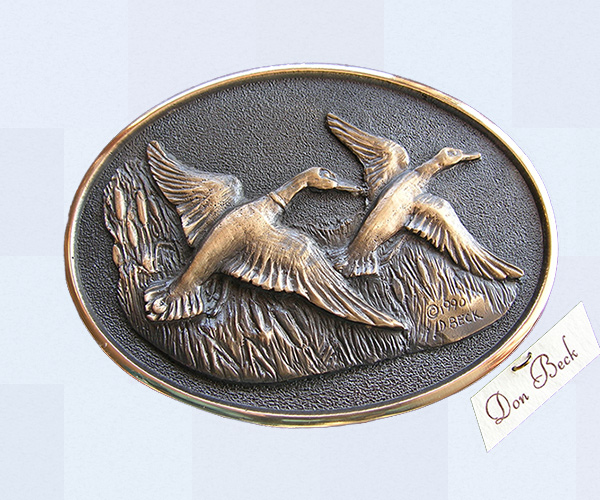 Mallard Ducks bronze belt buckle
