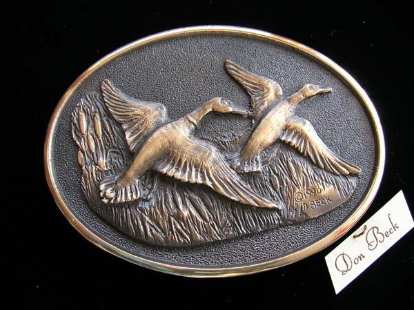 Mallard Ducks bronze belt buckle