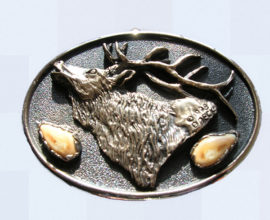 Rocky Mountain Elk bronze belt buckle