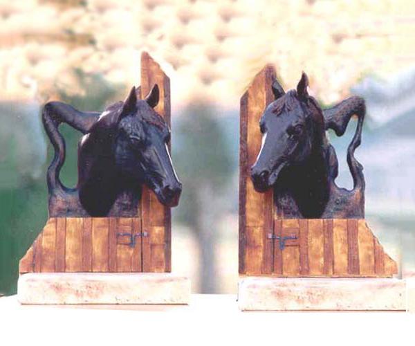 Horse bronze sculpture bookends