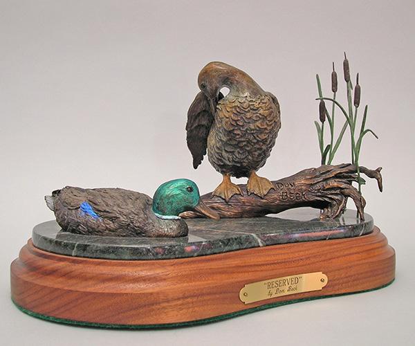 Mallard ducks bronze sculpture