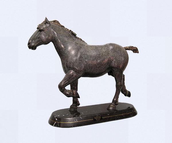 French Percheron Draft horse bronze sculpture