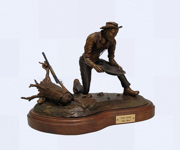 Gold prospector bronze sculpture