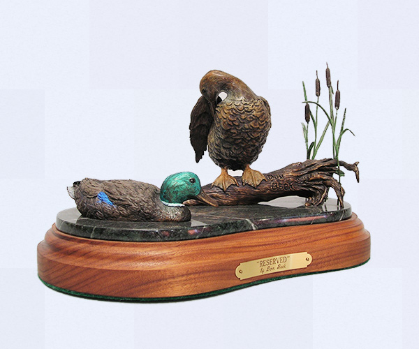 Mallard ducks bronze sculpture