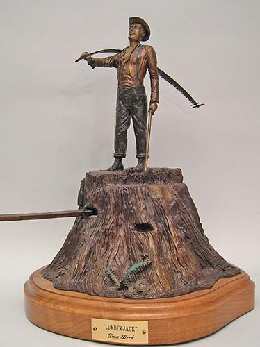 Lumberjack bronze sculpture