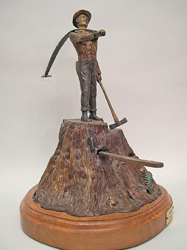 Lumberjack bronze sculpture