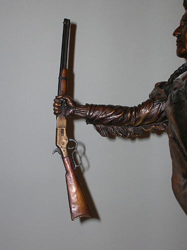 "Chief Joseph Bronze Sculpture, 44-40 Winchester ""Yellow Boy"" carbine"